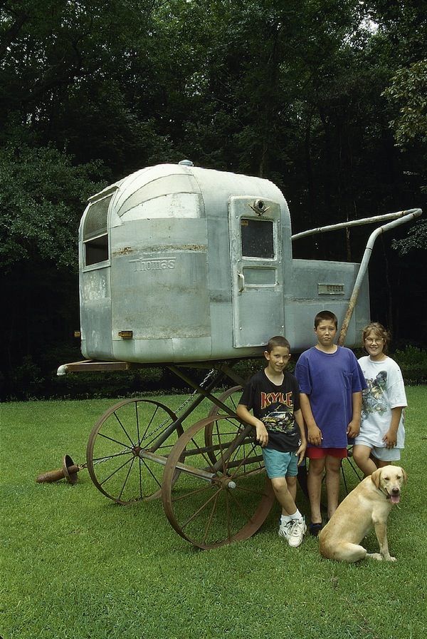 "Airstream Baby Carriage 1995 galvanized and rusted steel 108""x108""x60"""