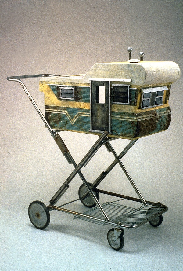 "Baby Carriage 1991 wood, steel, paint, found objects 38""x32""x18"""