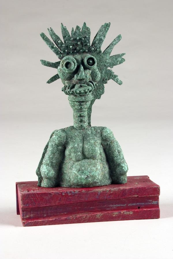 "George 2010 cast bronze, patina 12""x9""x3"""