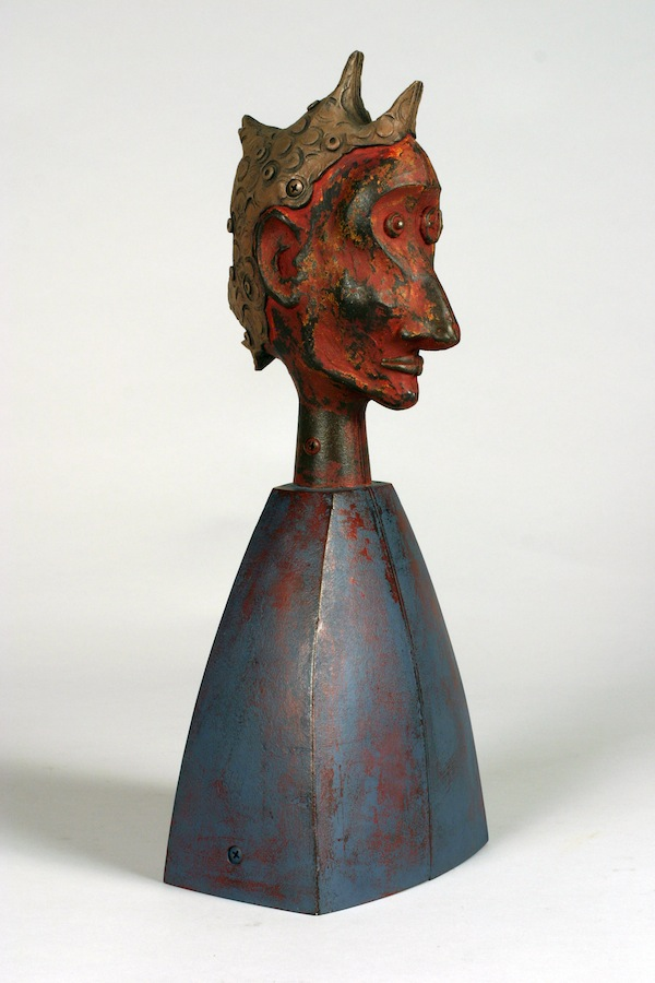 "Nasus 2003 cast bronze, paint, patina 18""x7""x5"""