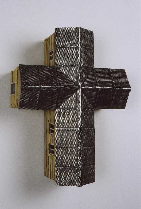 "Southern Cross (Black) 2004 wood, steel, paint 18""x14""x7"""