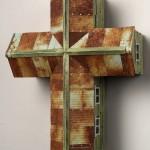 "Southern Cross (Green) 2001 wood, steel, paint 18""x14""x7"""