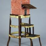 "Tobacco Barn (Red Brick) 2006 wood, steel, paint, found objects  38""x14""x20"""