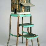 "Tobacco Barn (Green Stool) 2006 wood, steel, paint, found objects  38""x14""x20"""