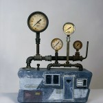 "Under Pressure 1996 wood, steel, paint, found objects 15""x15""x8"""