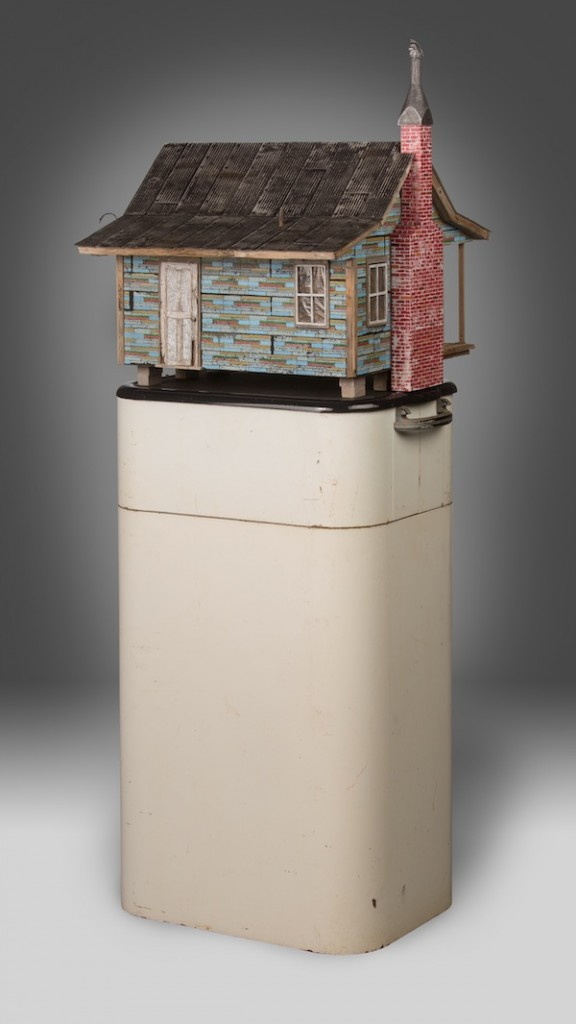 "Westinghouse 2012 wood, steel, found objects, paint 60""x15""x15"""