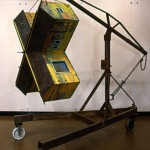 "X-House 1994 wood, steel, paint, found objects 76""x76""x50"""