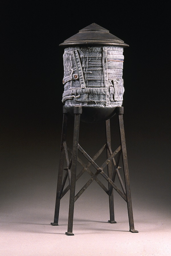 "Blue Jean Tower 1998 cast bronze, paint, patina 20""x9""x9"""