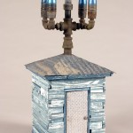 """Bullet House wood, steel, paint, found objects  23""""x10""""x10"""""""