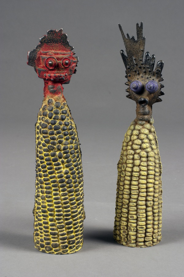 "Corn Couple,2012cast iron, paint, patinaeach 7""x1.5""x1.5"""