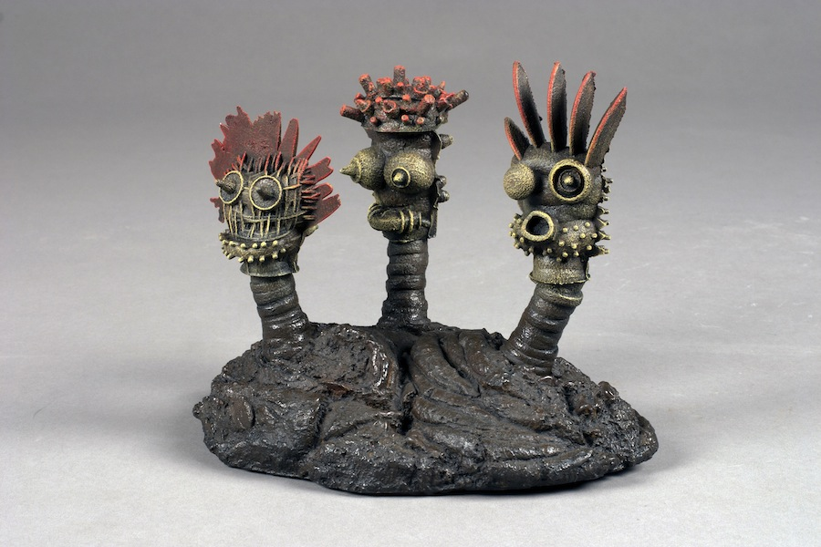 "Cow Pattie Triplets, 2012 cast iron, paint, patina 9""x8""x7"""