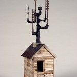 """Drill House 2009 wood, steel, found objects 39""""x11""""x13"""""""