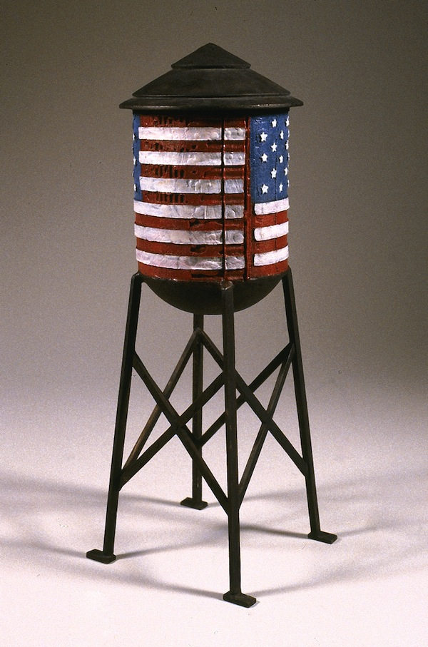 "Flag Tower 2001 cast bronze, paint, patina 20""x9""x9"""