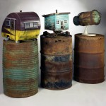 """Going Mobile Triptych 1995 wood, steel, paint found objects 60'x84""""x24"""""""