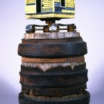"""Rough and Ready 1995 wood, steel, paint, found objects 52""""x27""""x27"""""""