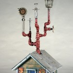 """Shooting Gallery 2009 wood, steel, paint, found objects 32""""x13""""x15"""""""