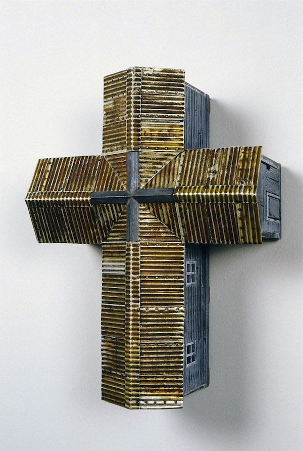 "Southern Cross (Blue) 2004 wood, steel 18""x14""x7"""