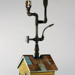 "Tool Shed 2005 wood, steel, paint, found objects 36""x11""x12"