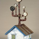 """Under Pressure #2 2008 wood, steel, paint, found objects 32""""x13""""x15"""""""