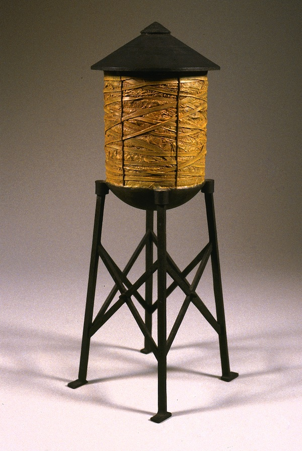 "Water Tower Tobacco 1998 cast bronze, paint, patina 20""x9""x9"""