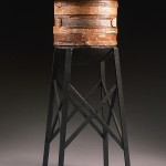 "Water Tower Wood 1997 cast bronze, paint, patina 20""x9""x9"""