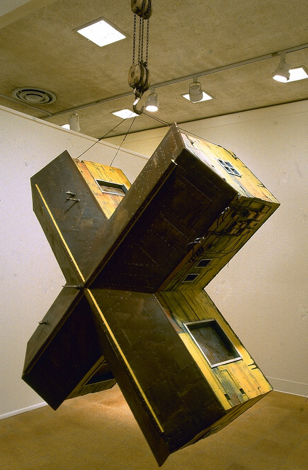 """X-House (detail) 1994 wood, steel, paint, found objects 76""""x76""""x50"""""""
